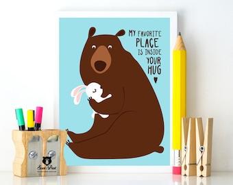 Poster Hug / Bear with rabbit A3