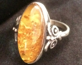AMBER 925 SILVER RING uk size R