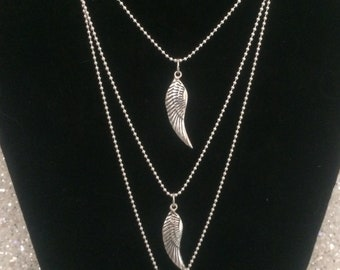 Sterling silver angel wings necklace on 16 inch chain
