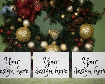 Download Free Three Christmas Greeting Cards Mockup, Invitation Mockup PSD Template
