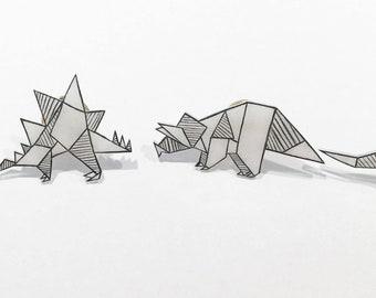 Dinosaur pins, Origami pins, geometric pins, accessorie, Set of 4, cute, fun, original design, black and white.
