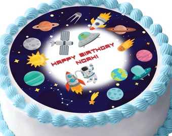 Planets and Space Black Hole ~ Frosting Sheet Cake Topper ~ Edible ~ D9509