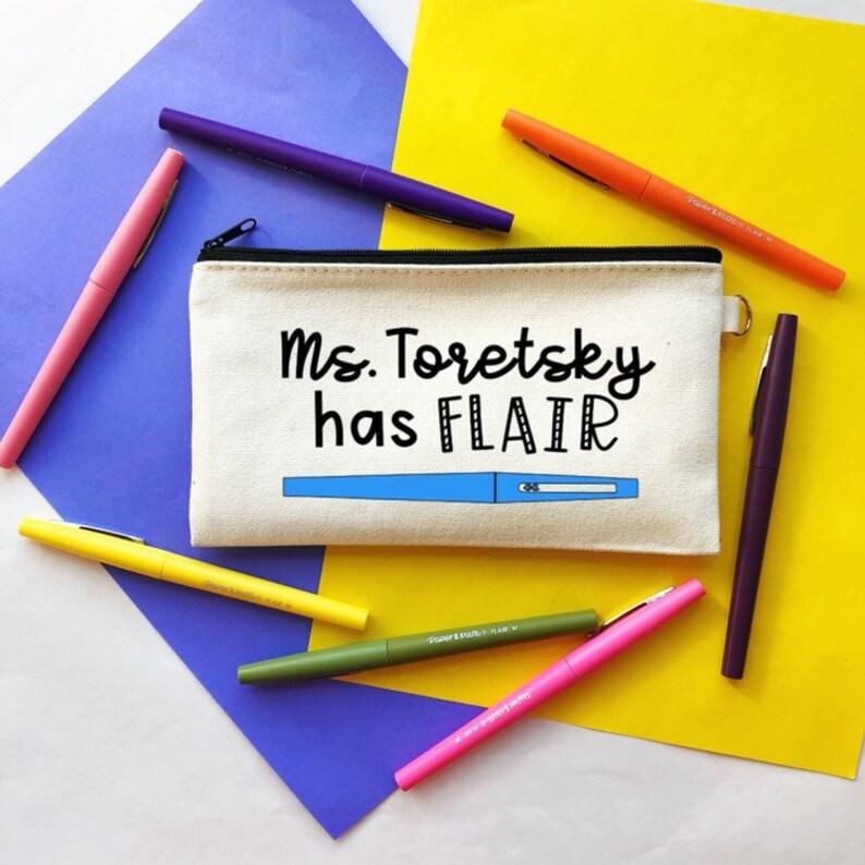 Has Flair BLUE Pen Pouch  Personalized Your Name Teacher Pen Pouch