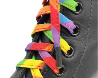 Super Pride Laces in fabrics, handmade in Quebec. Plasticized tips. Dr. Martens, Converse, LGBTQI Rainbow+ Pride