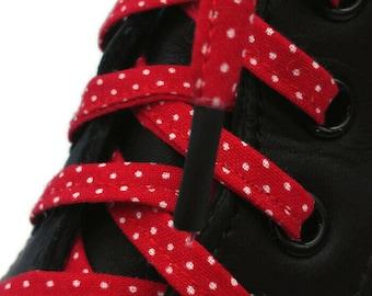 Super Lacets mini pois blancs sur fond rouge en tissus ,faits à la main au Québec.  Embouts plastifiés, Dr Martens, Converse, Vans