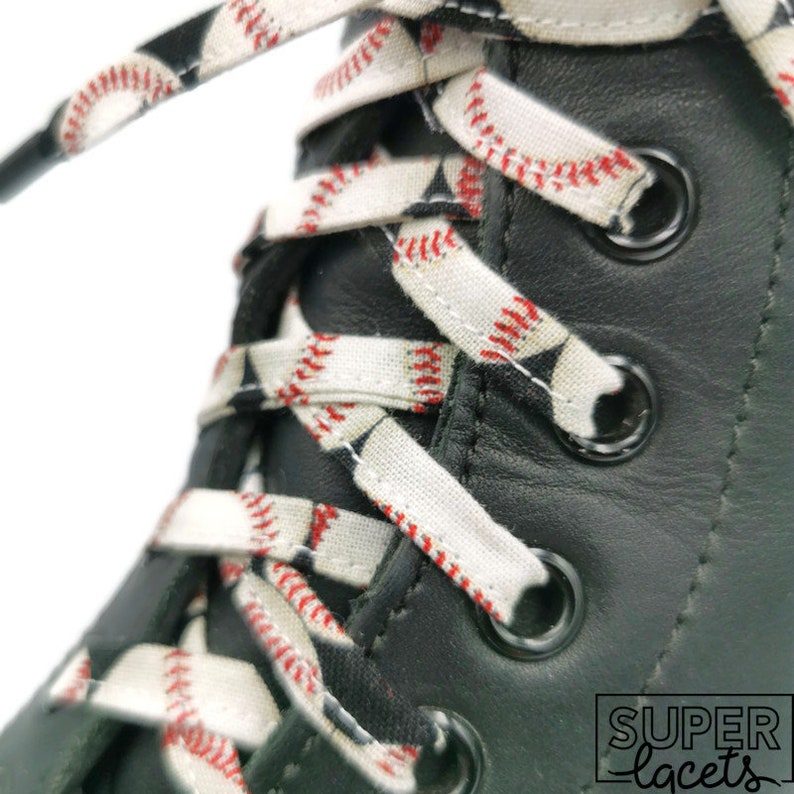 Super cloth laces baseball black white and red image 0