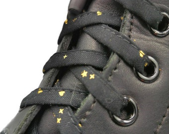 Super Black and Gold laces in fabrics, handmade in Quebec. Golden laces, shiny, laminated tips. Dr Martens, Converse, Vans, gift