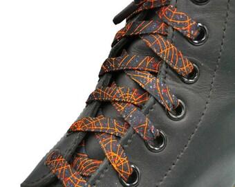 Super Lacets Cribella, en tissus, Gris, noir et orange. Toile d'araignée. faits au Québec. Embouts plastifiés, Dr Martens, Vans, Converse.