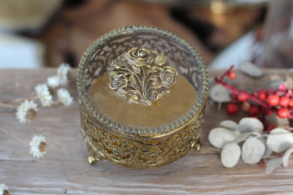 Antique French Victorian Roses Wreath Jewelry Box Rare Vintage Floral Bronze Jewelry Box Unique Gold Rose Matson Filigree Ormolu Stylebuilt