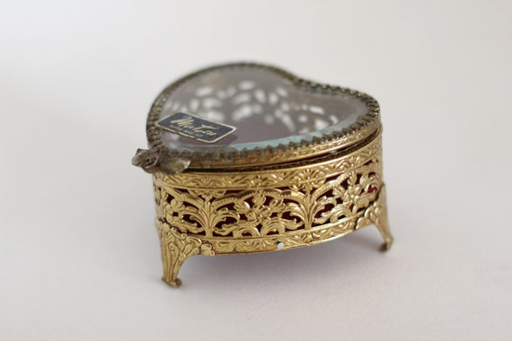 Bronze Matson Heart Shaped Vintage Antique Jewelr… - image 6