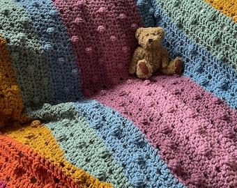 Chunky Chevron Rainbow Blanket Pattern by Melu Crochet UK & US Sofa/bed throw Afghan comforter for unisex/boy/girl home