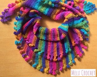 Big Cozy Bobble Pom Pom Shawl Wrap scarf by Melu Crochet pattern self stripe Ladies/womens/woman bobble/popcorn stitch easy quick chart incl