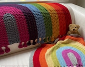 Rainbow Drop Blanket pattern by Melu Crochet Baby Afghan comforter and throw for unisex boy girl or home