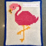 Customised baby blanket for Nona - Flamingo bobble stitch Chart with chosen baby name Modern pattern by Melu Crochet boy/girl crib