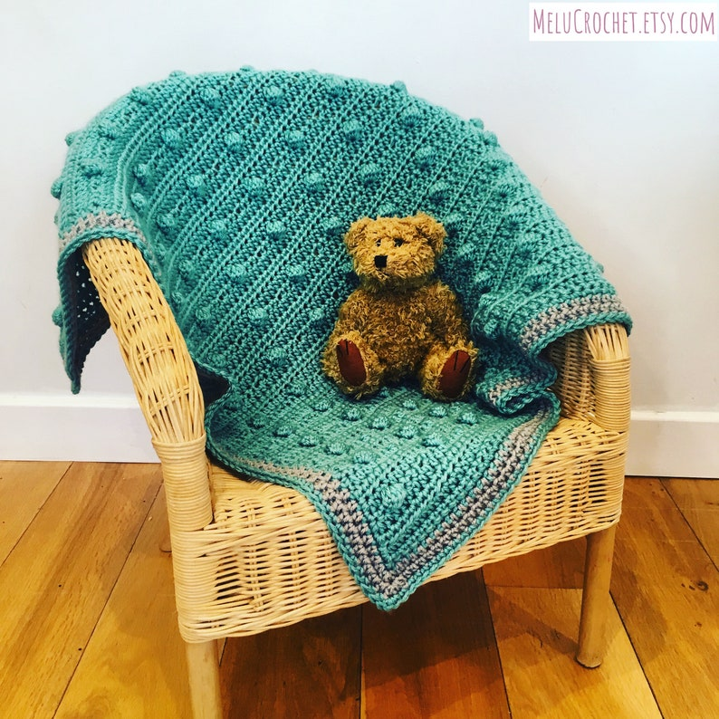 Modern Diagonal Bobble Filet Blanket Pattern by Melu Crochet image 0