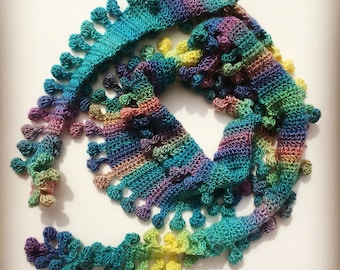 Bobble Pom Pom Scarf by Melu Crochet US and UK Pattern Ladies/womens/woman/adult/women easy to read chart included shawl/wrap self striping