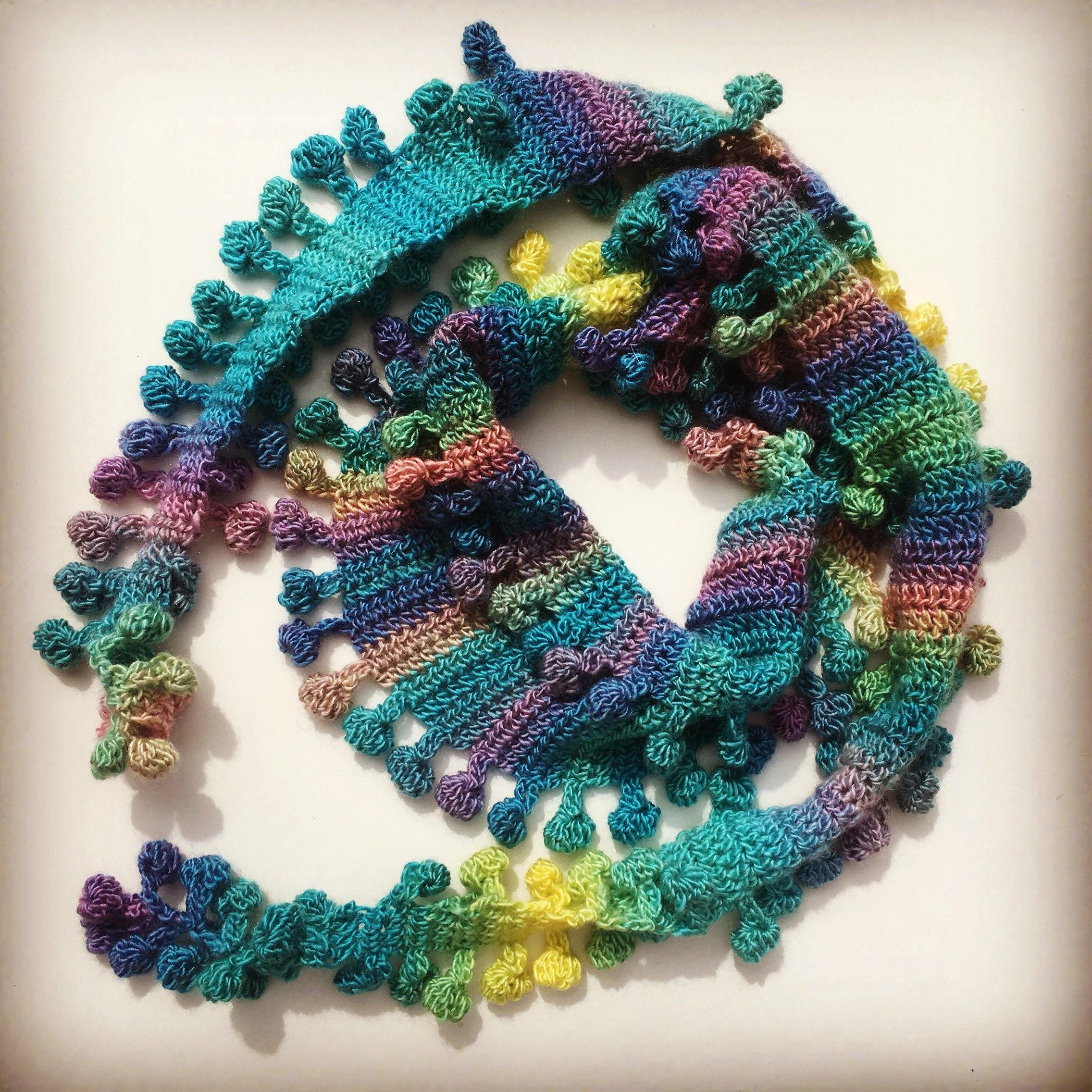 Bobble Pom Pom Scarf By Melu Crochet Us And Uk Pattern Etsy