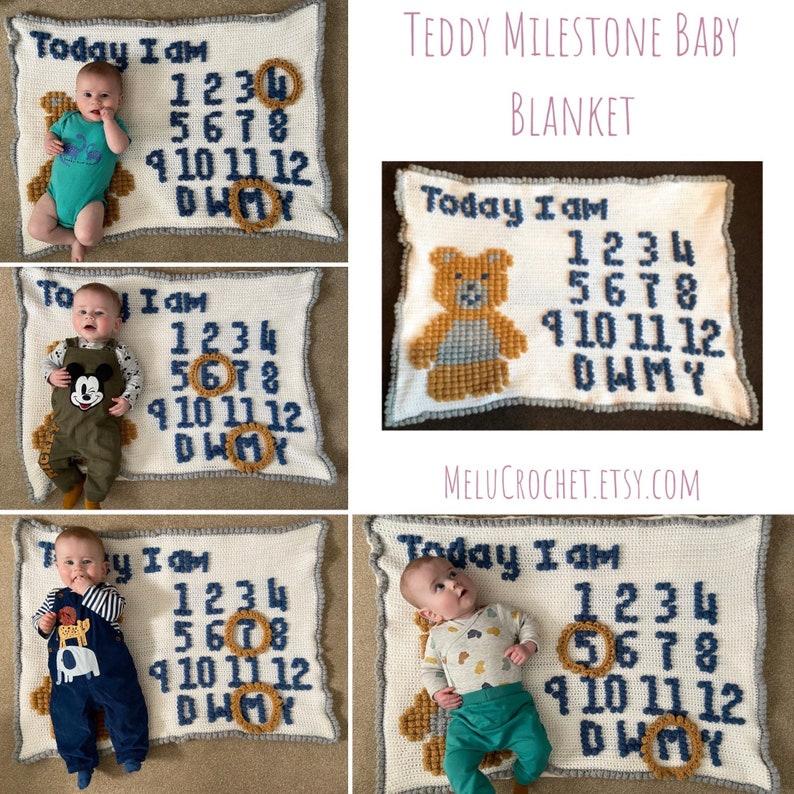 Teddy Milestone Bobble Stitch Blanket Pattern by Melu Crochet image 0