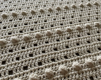 New Hope Bobble Blanket pattern by Melu Crochet throw comforter and Afghan for unisex/boy/girl/baby or home