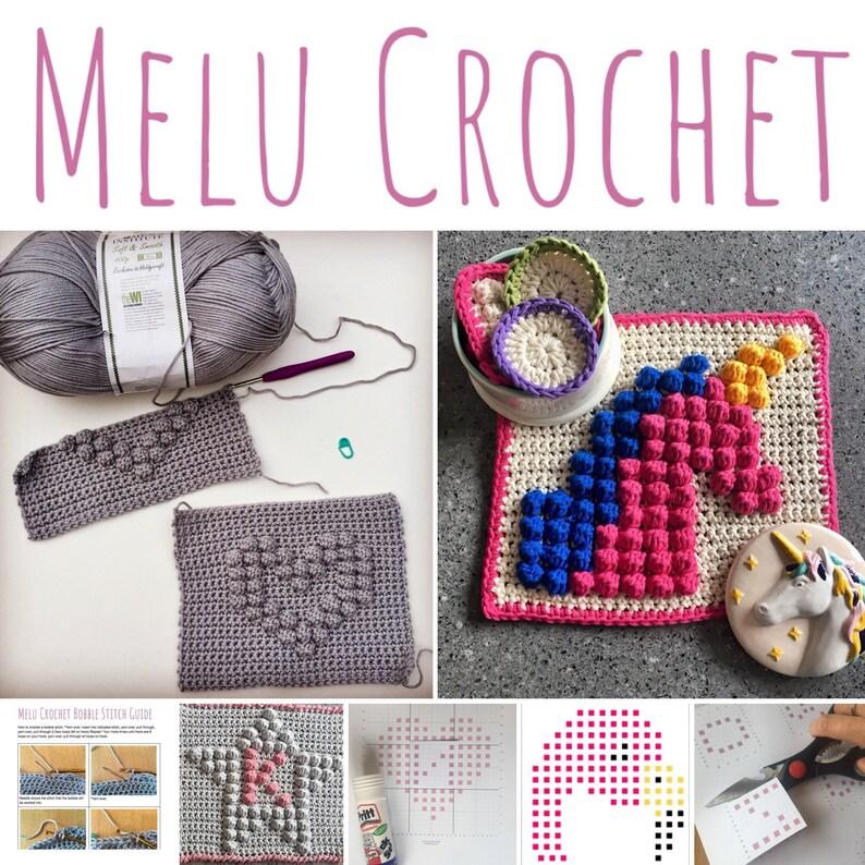 Bobble Stitch Squares Set by Melu Crochet Scrubbies image 0