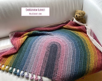 OmbRainbow Blanket pattern by Melu Crochet Baby Afghan comforter and throw for unisex/boy/girl or home