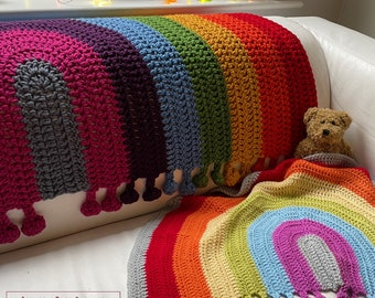 Rainbow Drop Blanket pattern by Melu Crochet Baby Afghan comforter and throw for unisex/boy/girl or home
