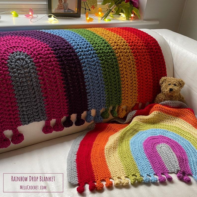 Rainbow Drop Blanket pattern by Melu Crochet Baby Afghan image 1
