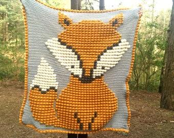 Baby Fox Bobble Stitch Blanket by Melu Crochet pattern Modern woodland nursery Chart/Puff stitch/Popcorn steek  guide included pixel art