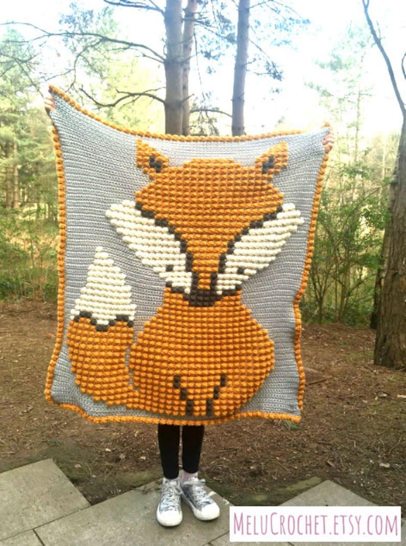 Baby Fox Bobble Stitch Blanket by Melu Crochet pattern Modern image 0