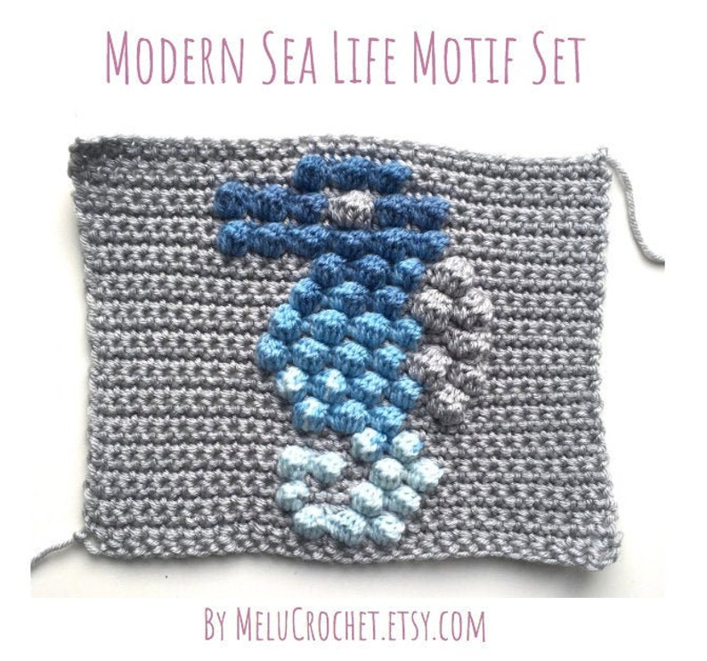 Modern Crochet Bobble stitch chart Squares narwhal fish image 0