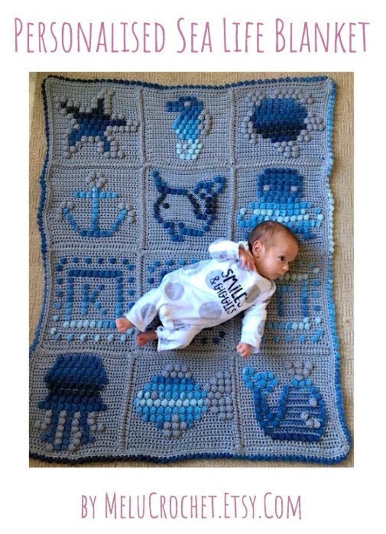 Personalised Sea Life baby blanket pattern by Melu Crochet image 0