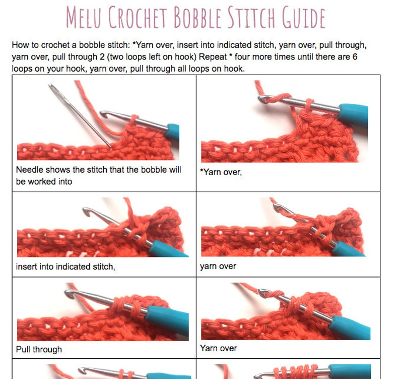 Bobble Stitch guide PDF by Melu Crochet help how-to step by image 0