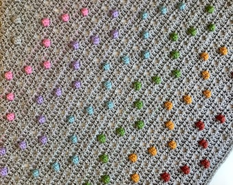 Chevron Dotty about Bobbles Modern Bobble Filet Blanket Pattern by Melu Crochet UK & US Baby Afghan comforter for unisex/boy/girl