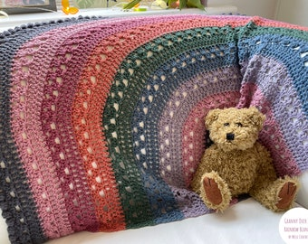 Granny Over the Rainbow Blanket pattern by Melu Crochet Baby Afghan comforter and throw for unisex/boy/girl or home