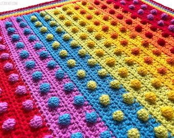 Modern Bobble Rainbow Blanket pattern by Melu Crochet Baby Afghan comforter and throw for unisex/boy/girl or home