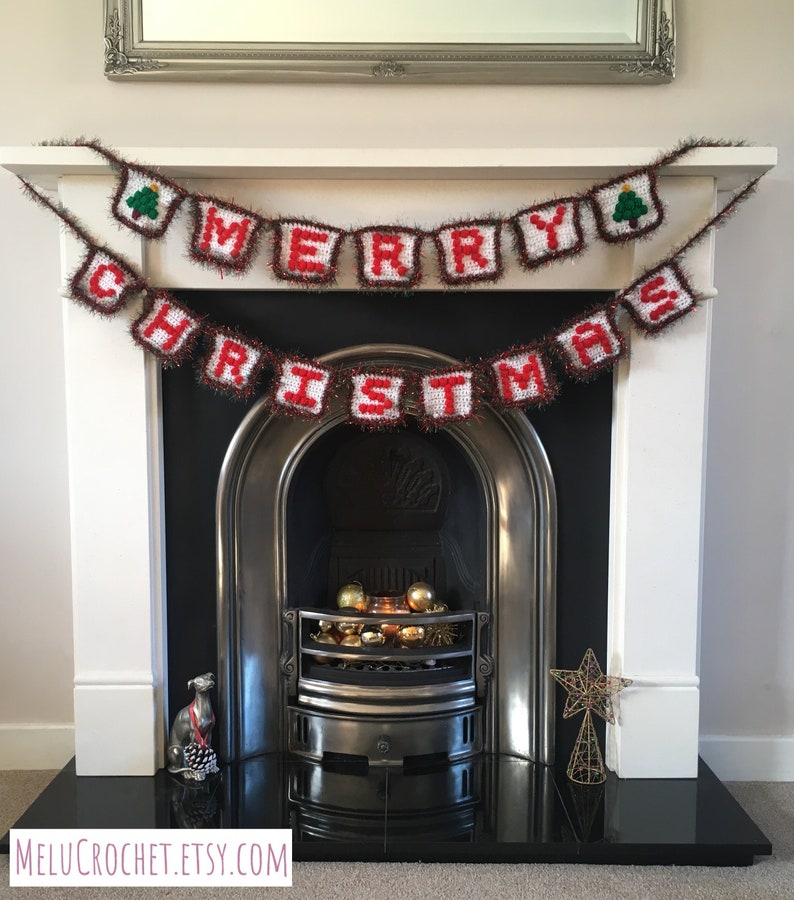 Merry Christmas Bunting decoration pattern by Melu Crochet image 0