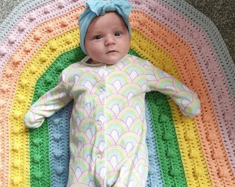 Over the Rainbobble Blanket pattern by Melu Crochet Baby Afghan comforter and throw for unisex/boy/girl or home
