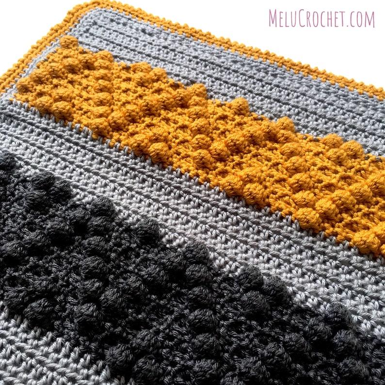 Chevron Bobble Block Blanket Pattern by Melu Crochet easy to image 0