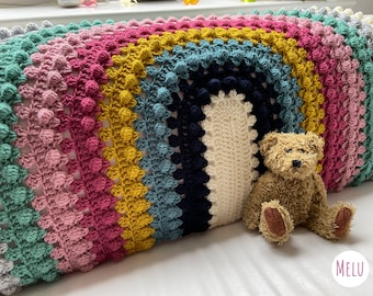 Granny Bobblina Rainbow Blanket pattern by Melu Crochet Baby Afghan comforter and throw for unisex/boy/girl or home