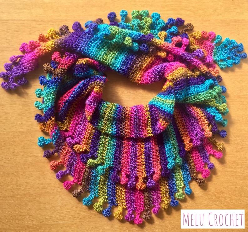 Big Cozy Bobble Pom Pom Shawl Wrap scarf by Melu Crochet image 0