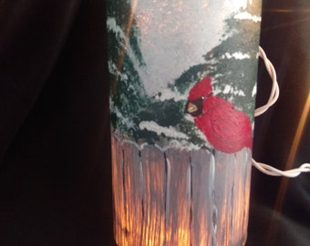 Red cardinal luminare/candle holder