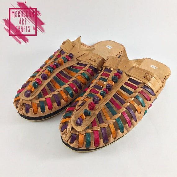 flats outdoor relax slippers slippers style indoor leather summer Comfort colorful on slides slippers handmade shoes slip african 4gwOnA