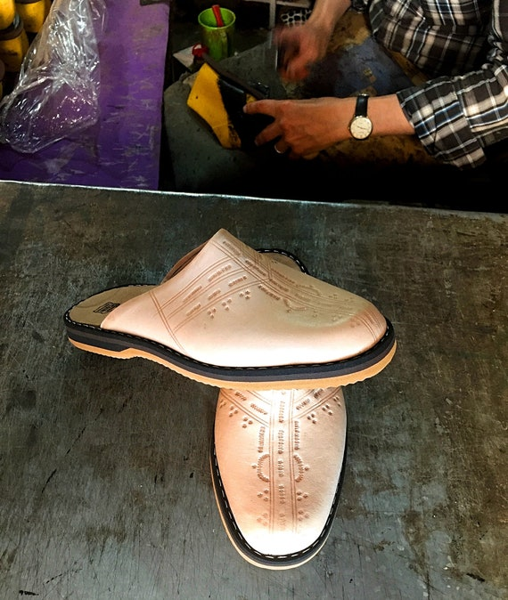 vintage Leather man Unique for Babouches Traditional Handmade Slippers Moroccan unisex wxnq4RP
