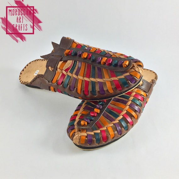slippers relax handmade shoes colorful outdoor slides indoor style slippers Comfort leather african slip on flats slippers summer 0qIn5