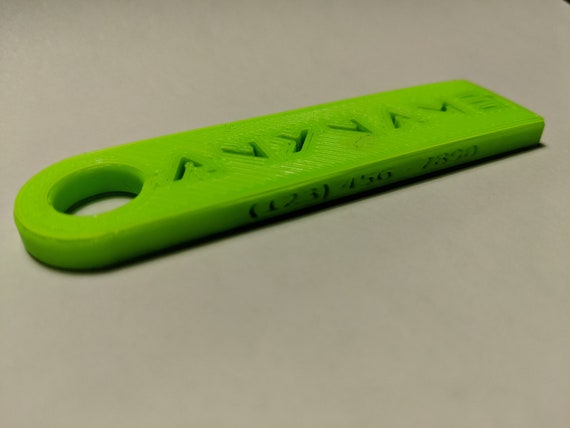 personalized 3d printed keychain with phone number luggage etsy