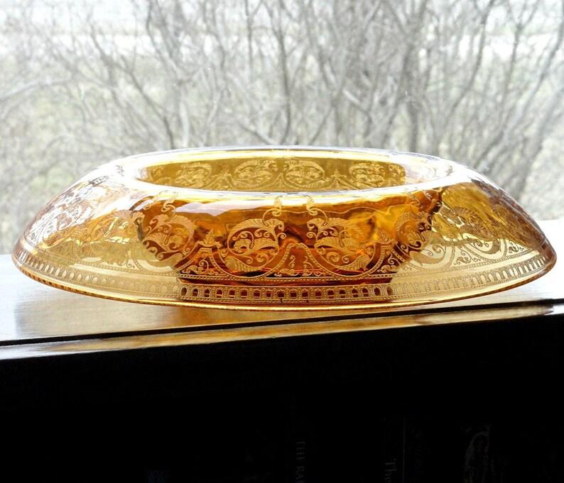 ART DECO Glass CONSOLE SET Enamel Flowers  Bowl /& Candlesticks Vintage 1920-30/'s