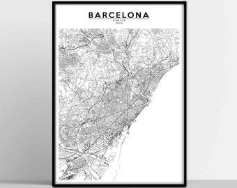 image regarding Printable Map of Barcelona named Barcelona map print Etsy