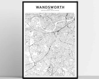 London Borough of Wandsworth Personalised Map Art Print  Tooting  Putney  Battersea  Earlsfield  Roehampton  Balham  Clapham