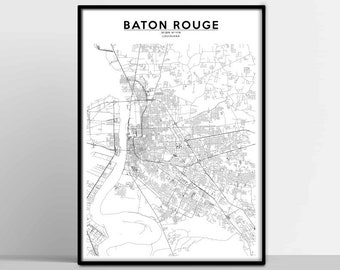 Baton rouge city map | Etsy