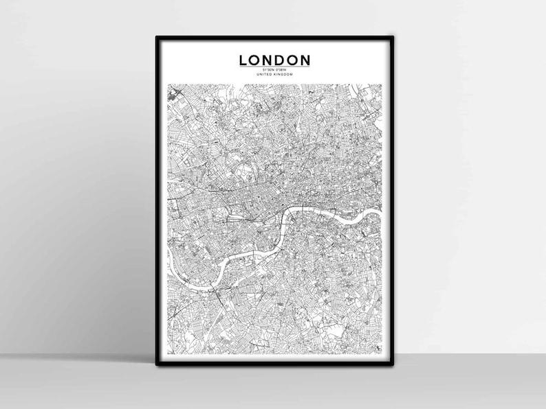 Printable London Street Map.London City Map London Map Print London Map Download Map Of London London Street Map London Poster London Wall Art London Printable